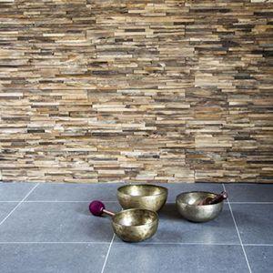 houten wandtegels in antiek verouderd teakhout