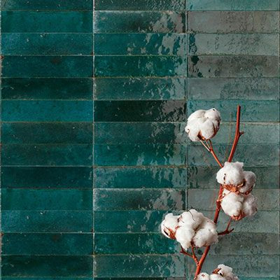 Retro verouderde keramische wandtegels 6x24cm in kleur groen blauw