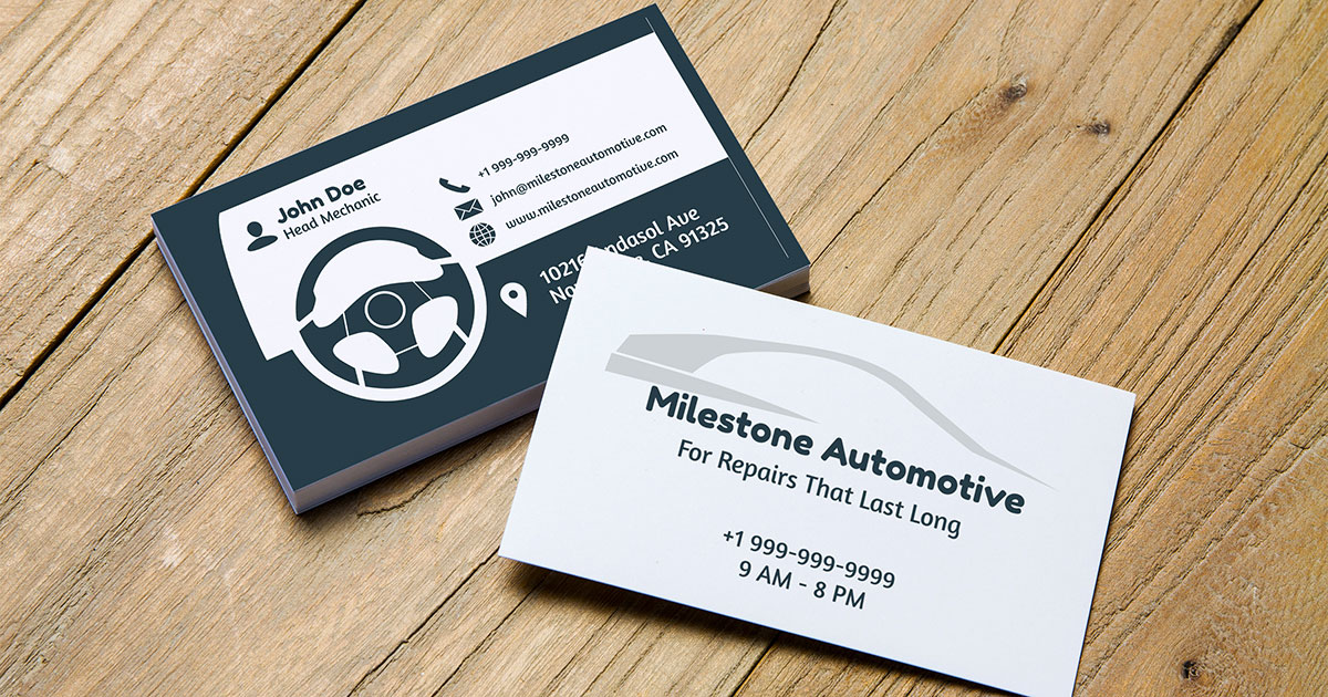 10 automotive business card templates fully customisable online car dashboard themed auto repair shop business card fbccfo Gallery