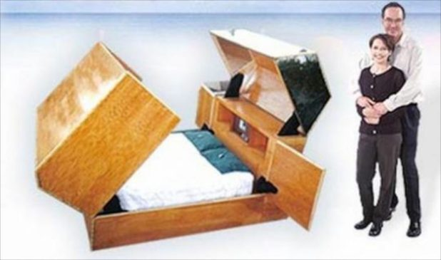 The Quantum Sleeper Unit is a high-level security system designed for maximum protection in various hostile environments. The high-tech bed folds up into a fire-resistant coffin-like box to keep you safe from any uneventful event. The bed is fitted with a high-level security system that protects you from destructive forces of nature, bio-chemical terrorist attack and kidnappers. Besides, the bed is not just about protection, it is also the ultimate in entertainment and communications as it also comes with a built-in CD player, DVD Screen with PC hookup, microwave and refrigerator along with cellular phones and radios to keep you connected to the outside world! The bed is designed to enable the person(s) inside the unit to see out and prevent those outside from seeing in. The bed, though not in production, costs an estimated $135,000. 10. Sonic Bed by Kaffe MatthewsAddhttp://www.bornrich.com/top-10-high-tech-luxury-beds.html a description…
