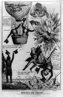 Political cartoon predicting Polk's defeat by Clay