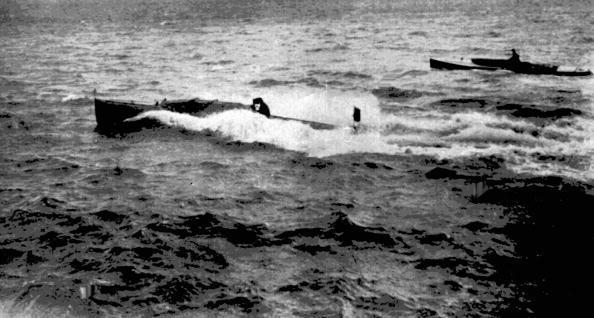 London 1908: Motor boats in action during competition when the sport was included for the first and last time. The races were held round the Isle of Wight off the south coast of Britain.