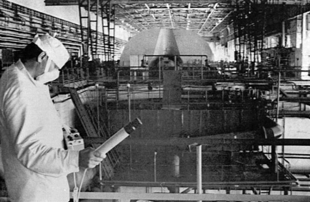 -FILE PHOTO 05JUN86-A worker at the Chernobyl nuclear power plant checks the radiation level in the ..