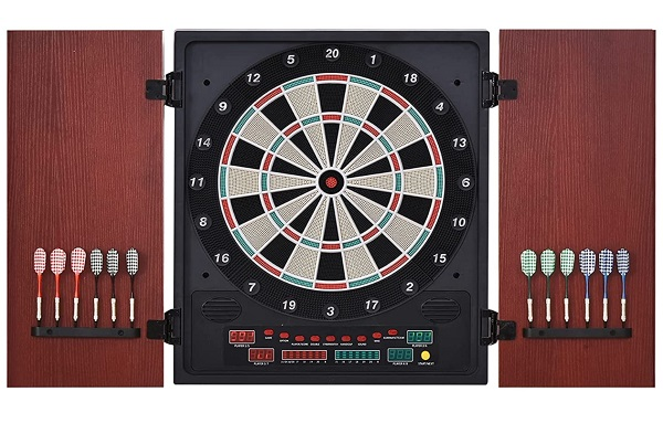 Soozier Electronic Dartboard Set With A Storage Cabinet