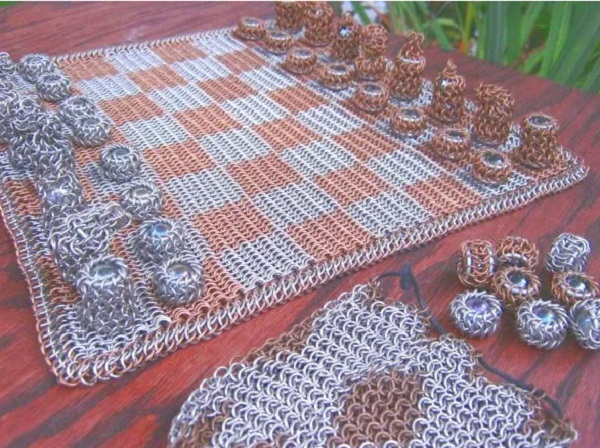 Bronze and Stainless Steel Chainmaille Chest Board and Pieces