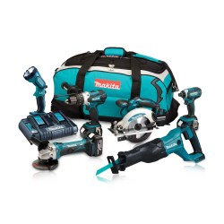 Toptopdeal-co-uk Makita DLX6072PT 18V LXT 6 Piece Kit 3 X 5 0Ah Batteries With Twin Port Charger
