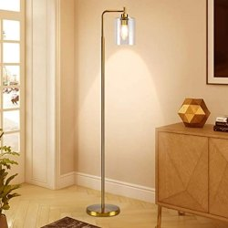 Toptopdeal-Depuley-Modern-Gold-Led-Floor-Lamp,-Eye-Care-Standing-Lamp-with-Hanging-Glass-Shade