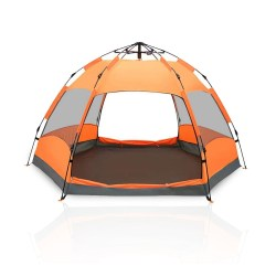 Toptopdeal MBEN Camping tent, hexagonal automatic pop-up camping tent 5-8 people, double-layer portable waterproof dome tent camping
