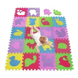 Toptopdeal-meiqicool-mat,-Puzzle-Play-Mat,Interlocking-Puzzle-Pieces-Promote-Visual-Sensory-Development