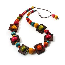 Toptopdeal-Avalaya-Multicoloured-Square-Wood-Bead-Cotton-Cord-Necklace---74cm
