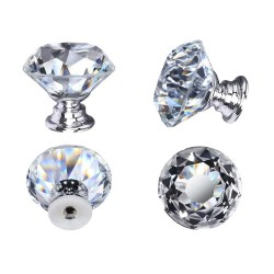 toptopdeal 20PCS Crystal Door Knobs, 30mm Glass Drawer Knobs Crystal Door Handles Diamond Pulls with Screws for Home Kitchen Office Chest Bin Drawer Decorating