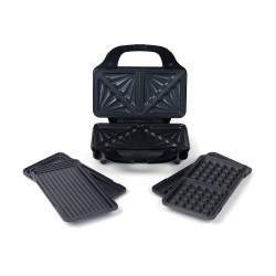 toptopdeal Salter EK2143 Deep Fill 3-in-1 Snack Maker with Interchangeable Waffle, Panini and Toasted Sandwich Plates