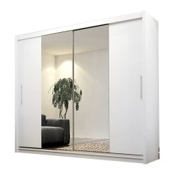 toptopdeal Ye Perfect Choice Modern Wardrobe Mirror Sliding Doors Hanging Rail Shelves AVA 4 Closet 180cm 5-9ft (White without LED Lights, Without Carrying Service)