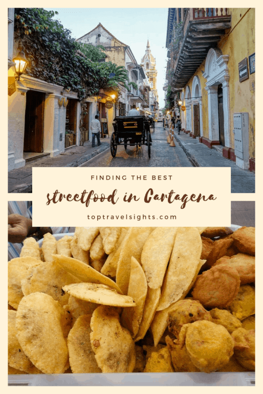Pinterest image for streetfood in Cartagena, Colombia
