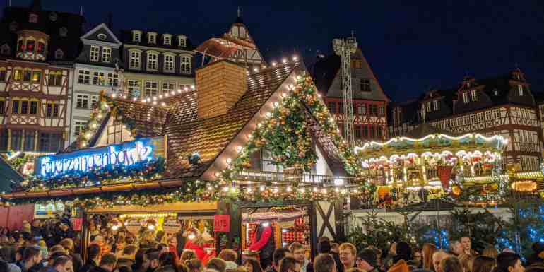 German Christmas market in Frankfurt, Germany