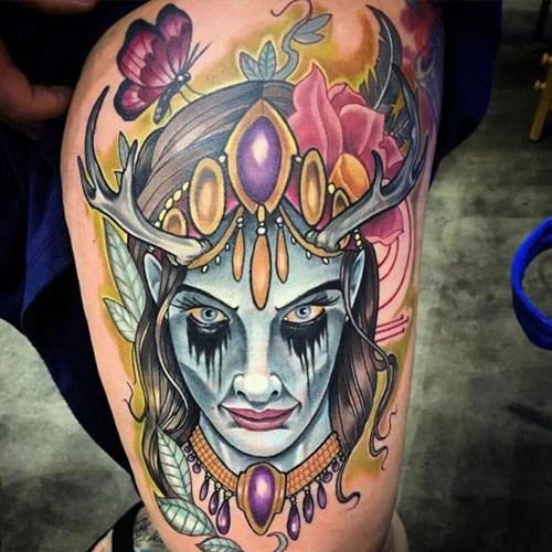 Badass Female Thigh Tattoo Ideas