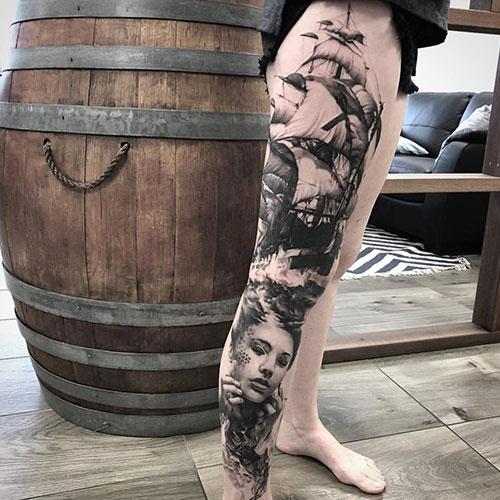 Badass Thigh Tattoo Designs For Females