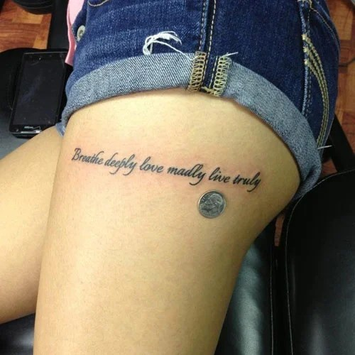 Best Quote Thigh Tattoos For Women