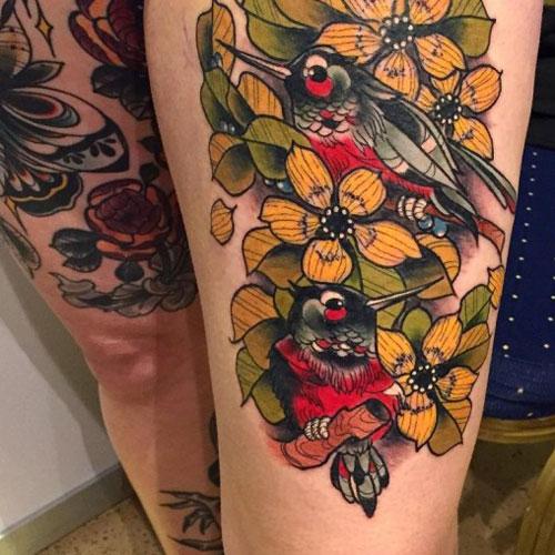 Bird Thigh Tattoos For Women