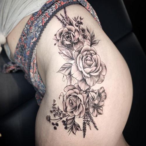 Flower Thigh Tattoo Ideas