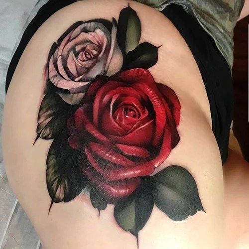 Rose Thigh Tattoo For Women