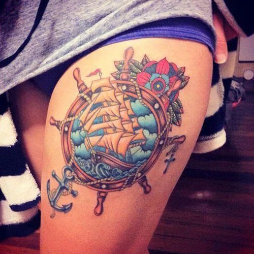 Side Thigh Piece Tattoo Designs