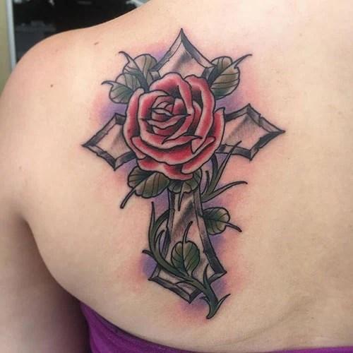 Cross and Rose Tattoo