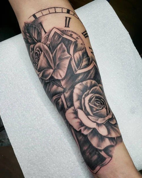 Cross with Roses Tattoo
