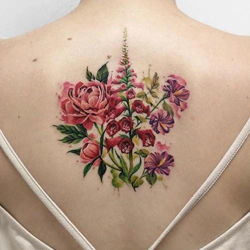 Cute Rose Back Tattoo