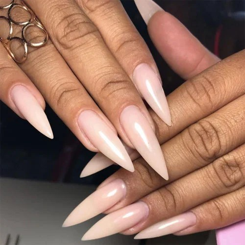 Long Nude Stiletto Nails