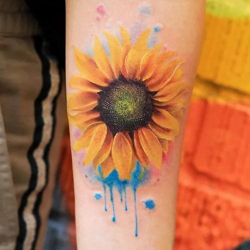 Beautiful Watercolor Sunflower Tattoo Design Ideas