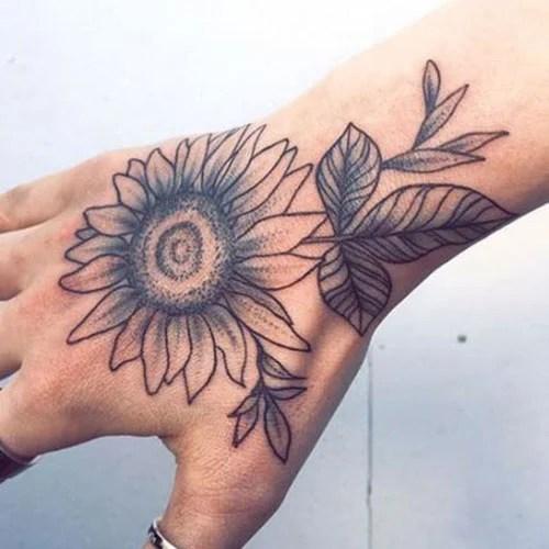 Big Sunflower Tattoo On Hand