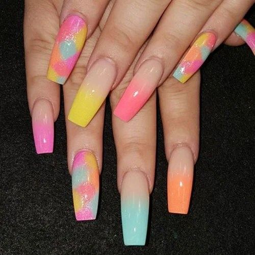 Colorful Ombre Nails