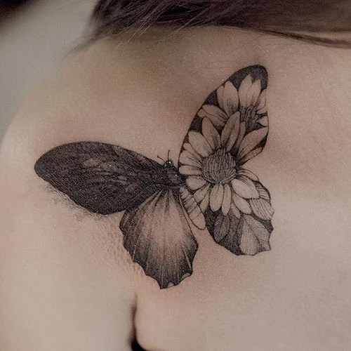 Cute Butterfly with Sunflowers Designs