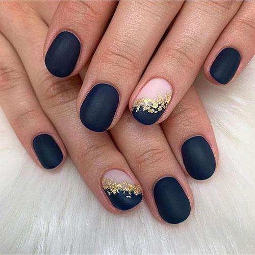 Dark Blue Matte Nails