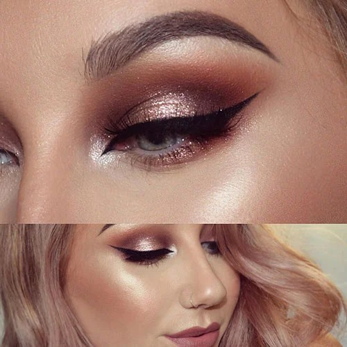 Gold and Rose Gold Prom Makeup
