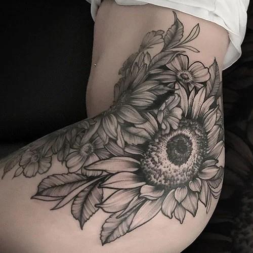 Hip Sunflower Tattoo