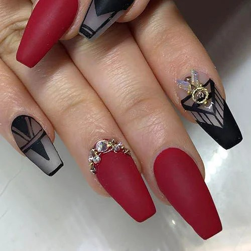 Matte Black and Red Nails