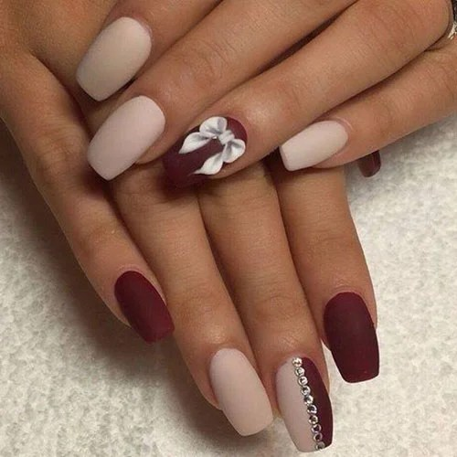Red and Nude Matte Nails