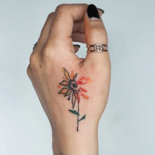 Simple Sunflower Hand Tattoo