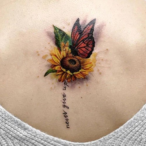 Small Sunflower with Butterfly Tattoo