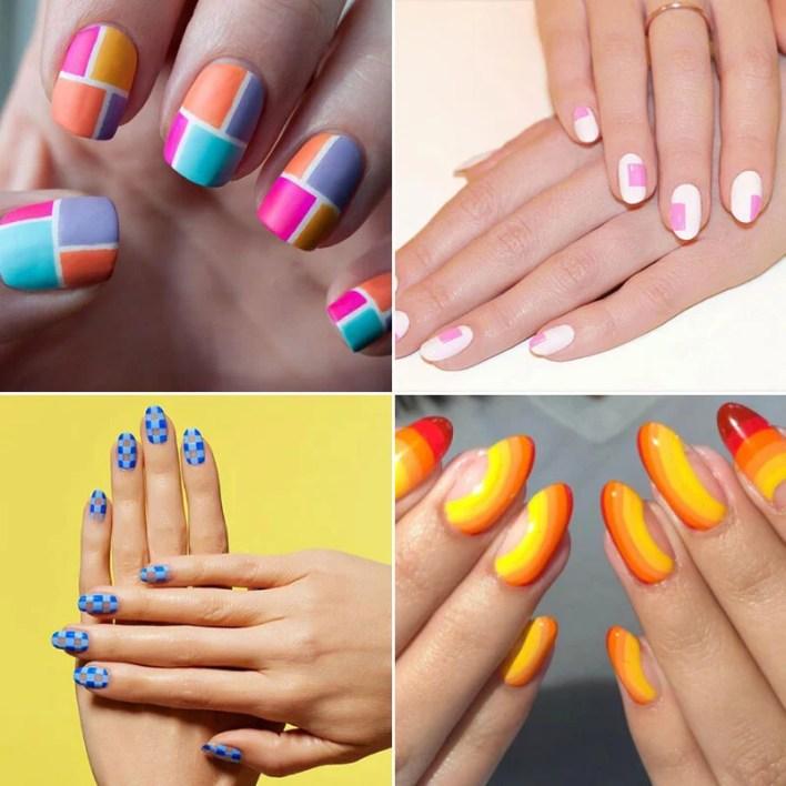 Summer Color Blocking Nails