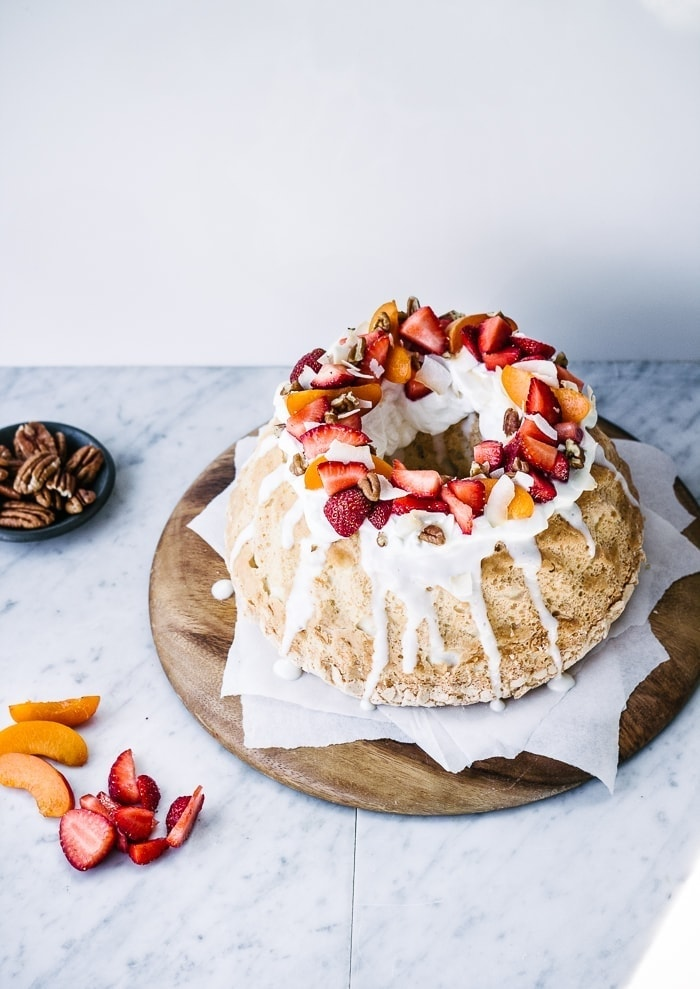 Coconut Angel Food Cake with Greek Yogurt Frosting