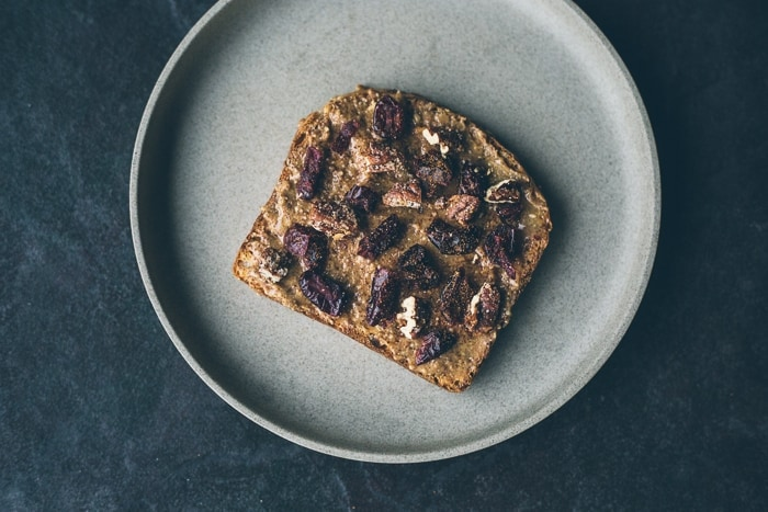 The 'That Whole Foods Bread'*: Almond butter + Honey + Cinnamon + Pecans + Dried Cranberries