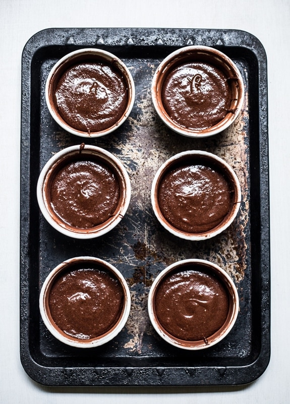 Salted Caramel Filled Molten Chocolate Cakes | Top With Cinnamon