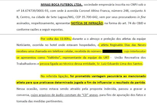 Trecho de documento enviado ao TJD/MG pelo Minas Boca