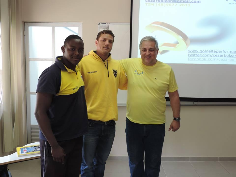 Cezar, Jonas e Fernando na palestra do treinador olímpico