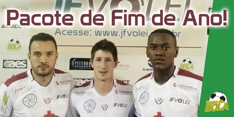 Da esquerda para a direita: Thiago Maciel, Dhionathan Silva e Lucas Salles, que já treinaram pelo JF Vôlei (Foto: Divulgação - Arte: Toque de Bola)
