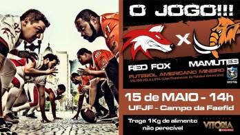 Futebol Americano: representantes locais Red Fox e Mamutes enfrentam-se domingo à tarde, na UFJF