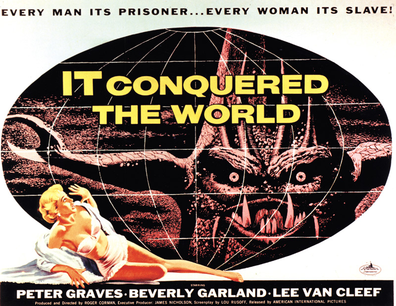 Albert Kallis, It Conquered the World/ The She-Creature, 1956, gouache and scratchboard montages, half-sheet poster and insert card, AIP. Albert Kallis-art directed illustrations for It Conquered the World and another Paul Blasidell monster movie, The She-Creature, released on July 15, 1956. Click to enlarge.